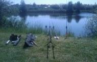 Geddefiskeri ved den lokale mose i sommervarmen