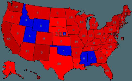 Hvis staterne skulle vælge mellem republikanske Sarah Palin (blå) og demokratiske Hillary Clinton (rød), så ville Oklahoma med nr. 7 foretrække Palin