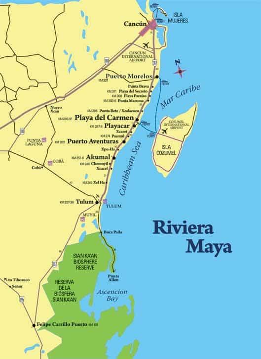 Flyet lander i Cancun, og så skal man ned ad kysten til Sian Ka'an